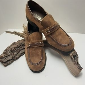 BROWN SUEDE & LEATHER SLIP ON SHOE 10.5
